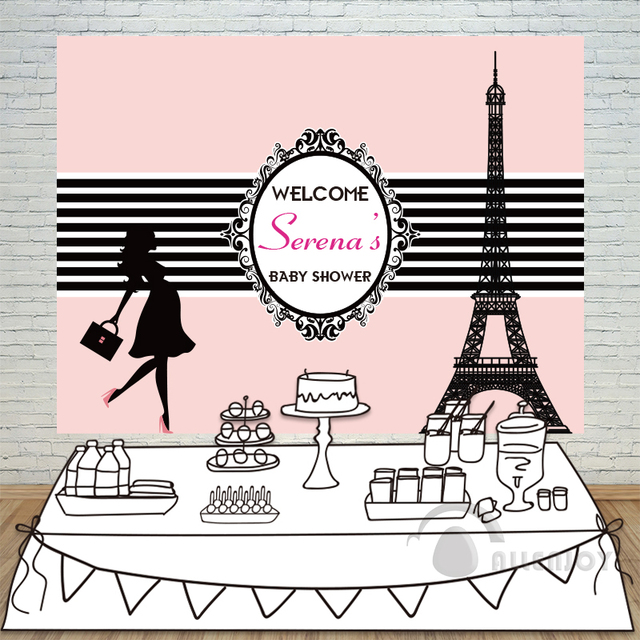 birthday backdrops baby shower eiffel tower background black and