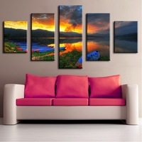 5 Panels Wall Art Canvas Painting Hot Sell Sunset Lake Printed Picture Gift for Living Room Unframed Home Decorative Posters