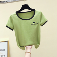 Avocado Green T shirt Women's Short Sleeves 2019 Summer Trim Thin Embroidery Letter Large U Collar Top Hot Sale