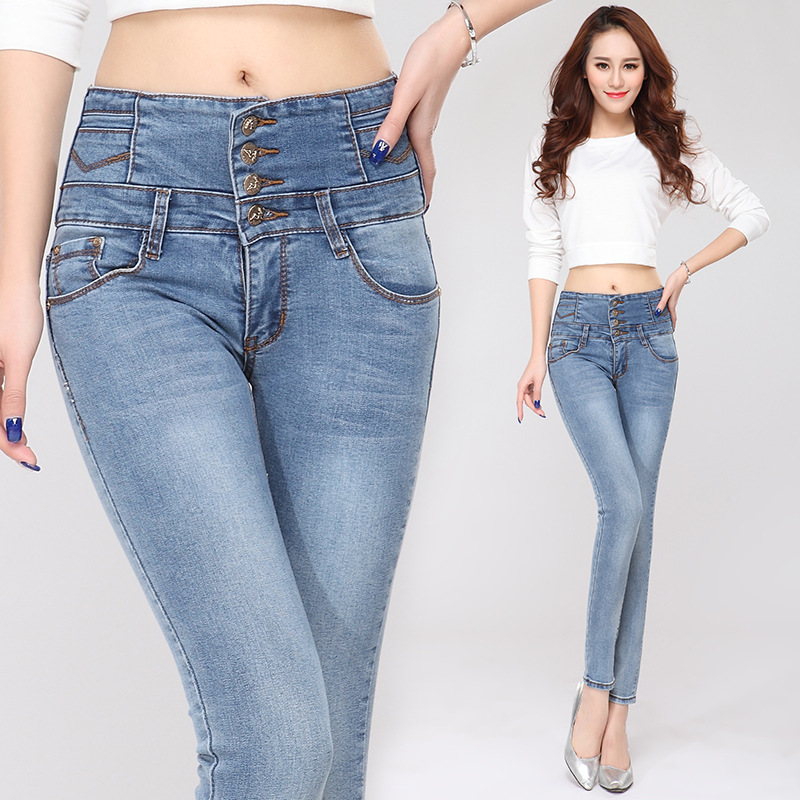 New Fashion Plus Size Autumn Winter American Apparel Jeans For Women High Waist Jeans Skinny Female Slim Pants Pencil Pants