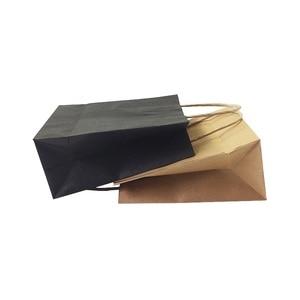 Image 4 - 40ピース/ロットクラフト紙ハンドル18 × 15 × 8センチメートル結婚式誕生日パーティーギフトパッケージバッグクリスマス新年卸売