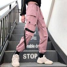 b68ea468f1e12a Primavera Streetwear Delle Signore del ricamo Pantaloni Cargo Donne  Pantaloni Casual Jogging Solido Grande Tasca Dei