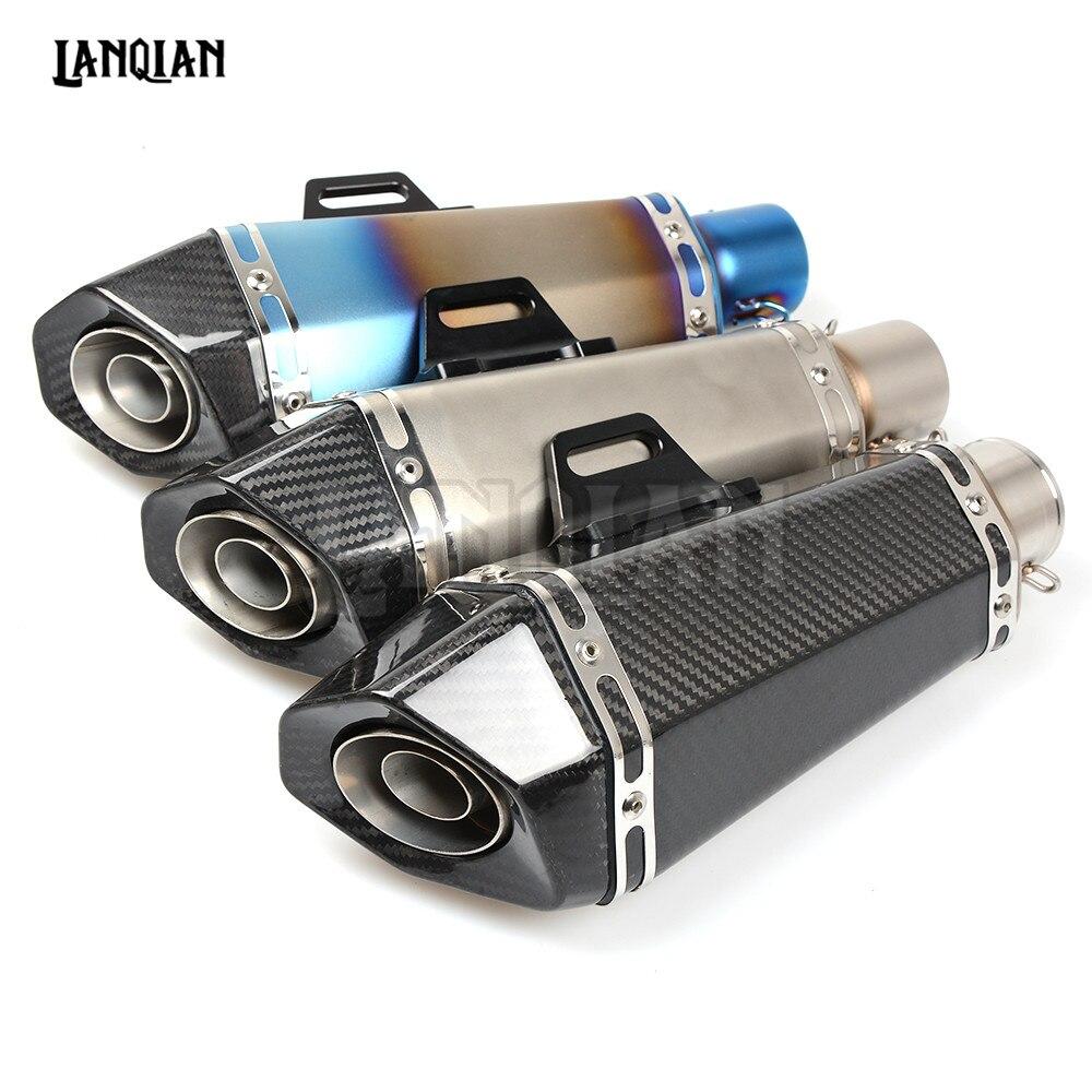 Универсальный 36-51мм модифицированного углеродного волокна мотоцикл выхлопной трубы выхлопной глушитель для YAMAHA xj6 на FJ09 ФЗ1 fz8 с FZ07 YZFR1 TZR50