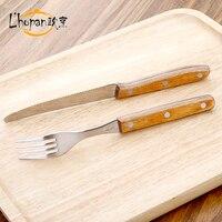 L Hopan Stainless Steel Dinnerware Beer Pizza Knife Fork Retro Style Wooden Handle Kitchen Dinner Tool