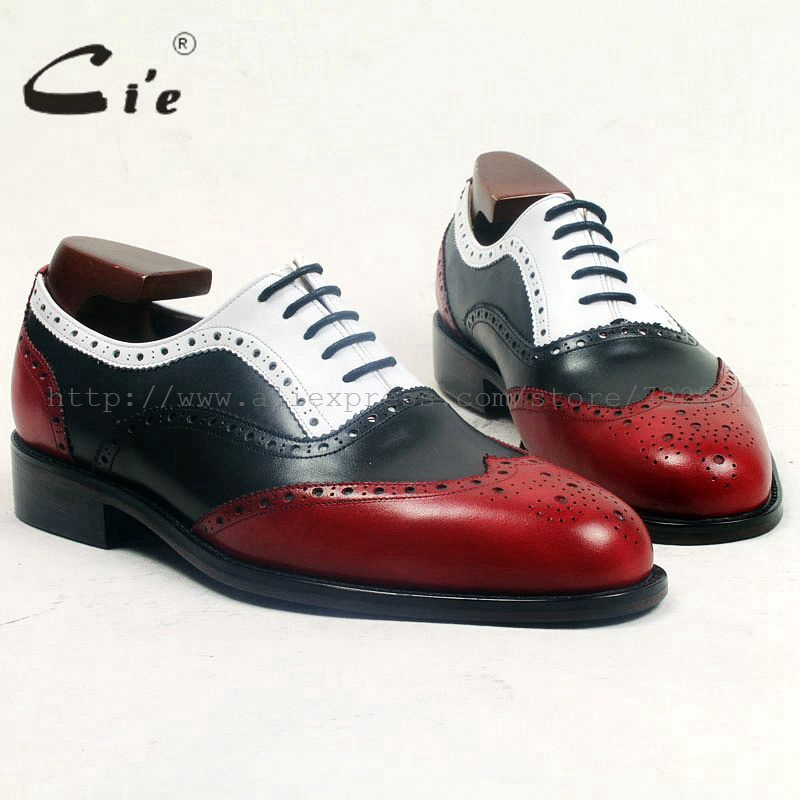 cie round full brogues medallion red black white mixed color 100%genuine calf leather breathable handmade men leather shoe ox500