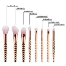 8pcs Honeycomb Makeup Brush Set Pro Foundation Powder Blush Contour Concealer Eyeliner Eyeshadow Eyebrow Lip Brushing Brush Kits