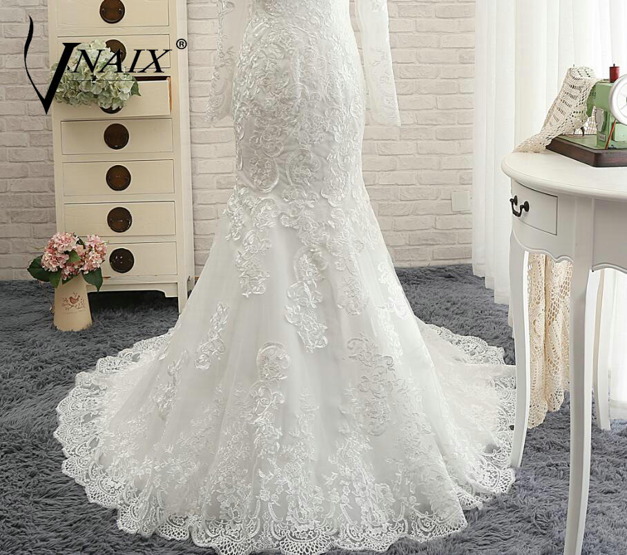 Long Sleeve See Through Back Lace White Mermaid Wedding Dress