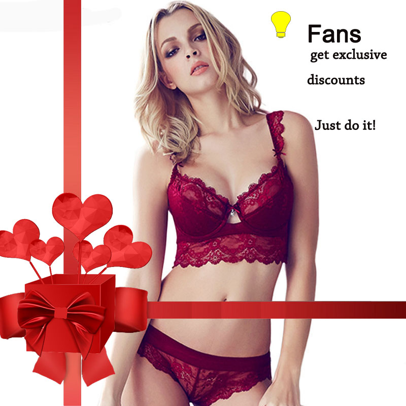 Fans discount Sexy Mousse Women Sexy   Bra     Set   Ultra-thin Red Black Lace   Bras   Underwear Push up   Bra   and Panties   Set   Cup A B C D