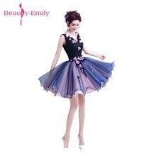 Beauty Emily robe de bal bleue avec perles, forme trapèze, robes de soirée, en dentelle perlée, pour filles et femmes, pour occasions formelles, 2020