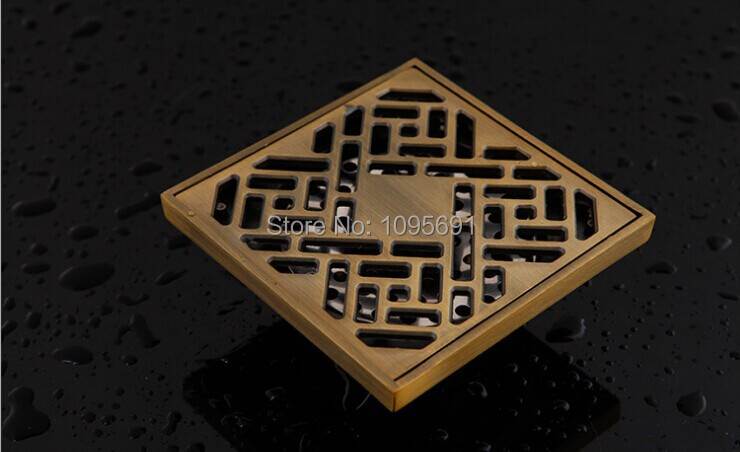 ФОТО Free shipping  European style   3 inch 100mm*100mm solid brass fittings antique brass Floor drain