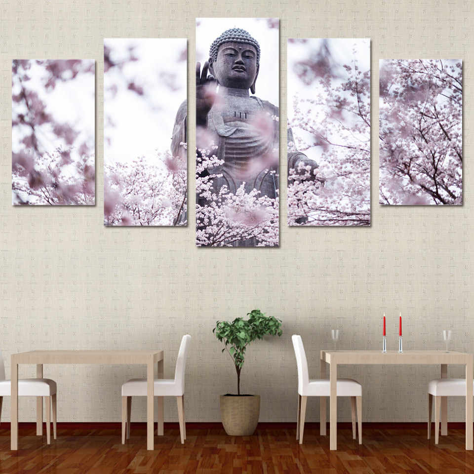 Pictures HD Print Canvas Painting Wall For Living Room Cuadros 5 Panel Buddha And Cherry Blossom Landscape Picture Painting YGYT
