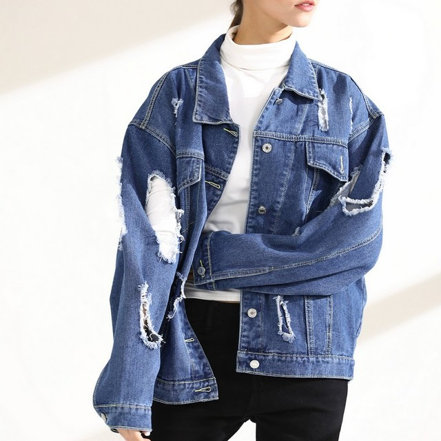 0b545049c37c4 EXOTAO Jeans Jacket Coat Oversized Denim Jacket Women Hollow Out Hole  Outwear Single Breasted Personally Streetwear