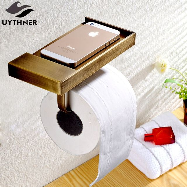 Uythner Newly Euro Style Antique Br Bathroom Toilet Paper Holder Wall Mounted