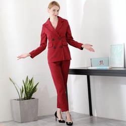 Работы мода полосатый костюм Женская двубортный Блейзер куртка и штаны Мода темперамент свободные удобные комплект из 2 предметов