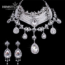 HIMSTORY Luxury Wedding Jewelry Set Imitate Pearl Crystal Rhinestone Drop Choker Bid Necklace Set Bridal Party Prom Jewelry