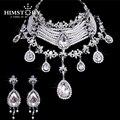 Joyería de la boda de lujo imitar la perla de cristal rhinestone choker collar de la subasta de la gota set joyería nupcial del partido de baile