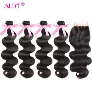 Image 1 - Brazilian Body Wave Human Hair 4 Bundles With Closure Brazilian Hair Extensions Non Remy Lace Closure With Weave Bundles 5 PCS