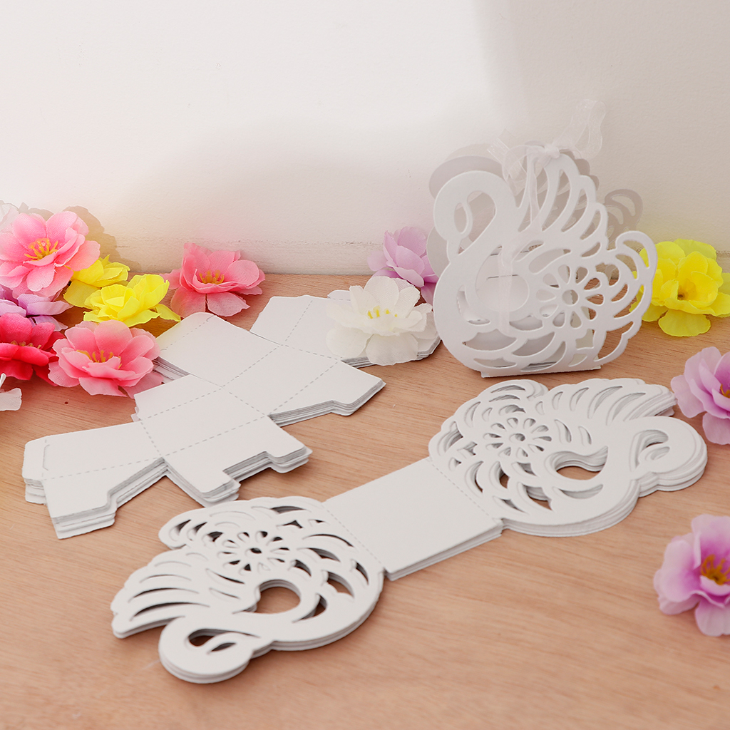 12pcs Elegant Hollow Out Swan Shape Candy Box Gift Boxes Wedding Birthday Party Favors