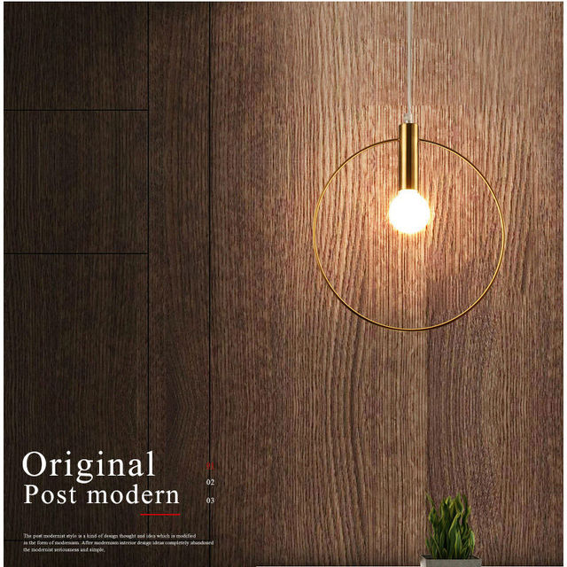 Modern Pendant Light For Lobby Dining Room single ring Arts Decoration lighting Antique Gold suspension Pendant Lamp E14 lights