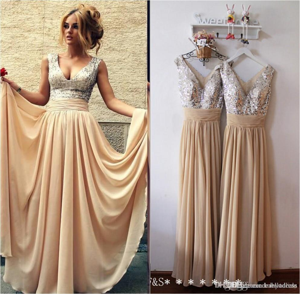 ... 2016 Ready To Ship Sequins Prom Dresses Long Sexy V Neck Pleated A-Line  Long ... 068b9b54431b