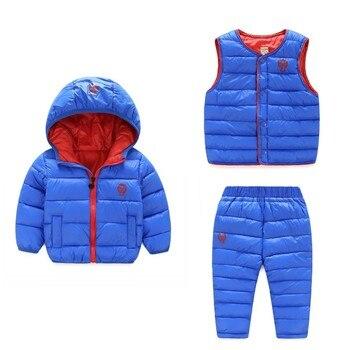 (3 stück) winter Kinder Kleidung Sets Warme Ente Unten Jacken Kleidung Sets Baby Mädchen & Baby Jungen Unten Mäntel Set Mit Hosen