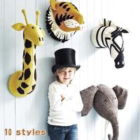 Felt Animal Head Elephant Deer Fox Swan Lion Tiger Head For Baby Room Decor Baby Kids Bedroom Hangings Wall Decor Gifts Toys