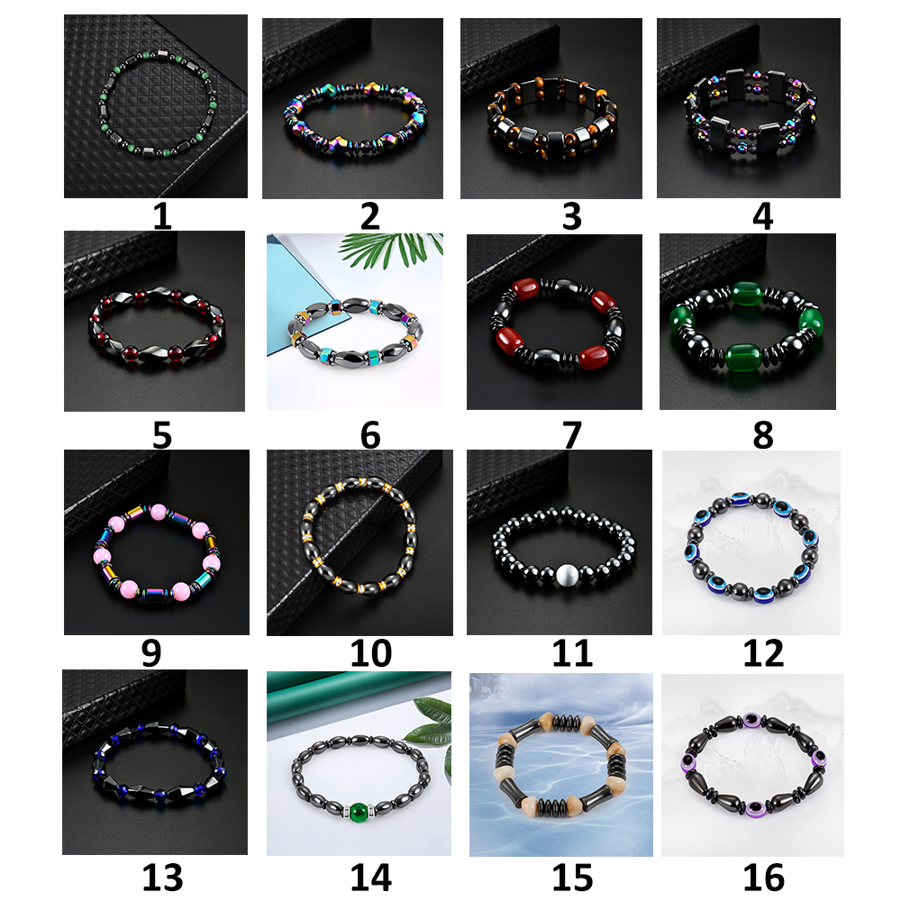 1Pc Magnet Bracelet Weight Loss Slimming Hand Chain Round Hematite Magnetic Stone Therapy Jewelry Health Care 16 Types