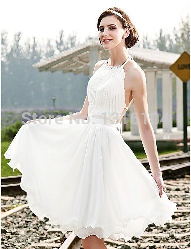 Us 99 99 New Cheap Sexy Backless Chiffon Informal Short Beach Wedding Dresses 2017 Halter Beaded Pleats Knee Length Bridal Gowns Summer In Wedding