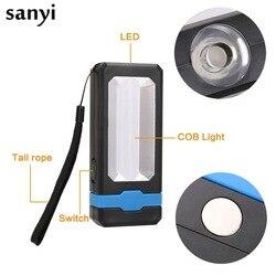 Lampe de poche de travail Portable Ultra lumineuse avec énergie solaire magnétique/USB Rechargeable 2 Modes COB LED lampe de Camping de travail d'urgence