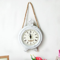 European Style Home Decor Frameless Wooden Wall Hanging Clocks Retro White Round Rope Hang Digital Wall Clock Photography Props
