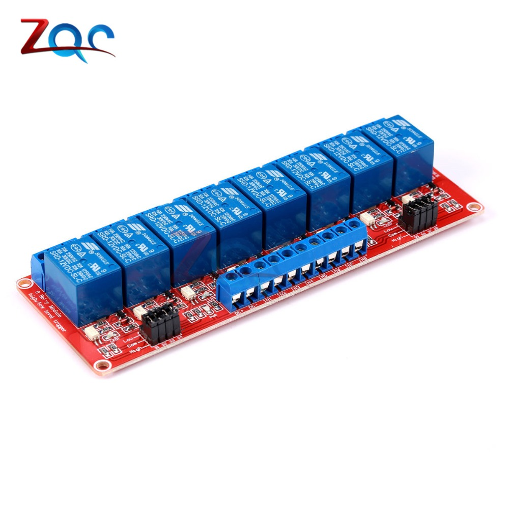 8 Channel DC 5V 12V 24V Relay Module Board Shield with Optocoupler Support High and Low Level Trigger for Arduino