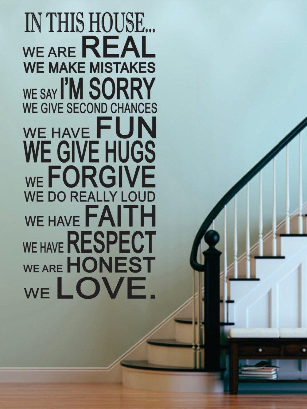 rimovibile vinile wall sticker in questa casa regole della casa decalcomanie soggiorno cucina entry rec foto