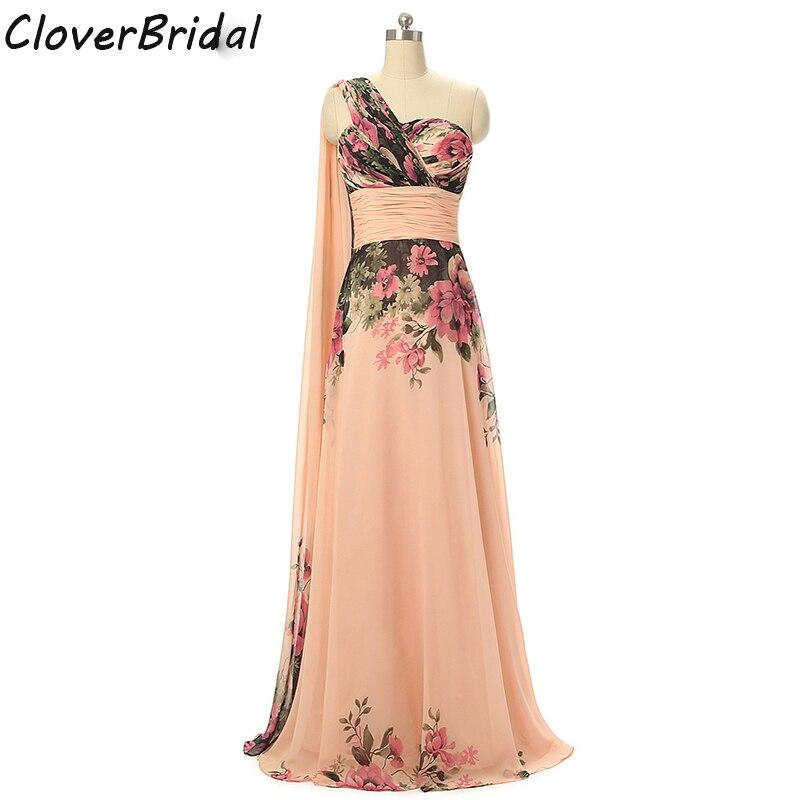 Photos réelles une épaule imprimé fleurs pêche couleur robes Potos reais baratos em estoque de casamento rosa vestido de festa de