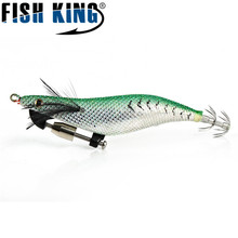 FISH KING Brand 1PC 3D Eyes 13.5CM 4G Lead Sinker Octopus Squid Lure Bait Hook Sea Fishing Tackle Outdoor Sports
