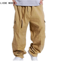 Mens Military Style Loose Fit Baggy Cargo Pants Men Multi Pocket Cargo Pants For Men Casual Cotton Straight Trousers Wide Leg