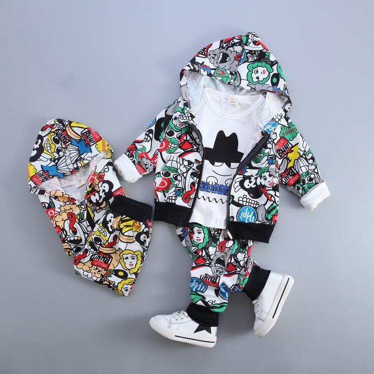 3 Pcs Baby Boy Girl Clothing Sets Boys Suit Graffiti Printing Spring Jacket Infant Coats White Long Shirt Boys Trousers graffiti classic boy 20 blue