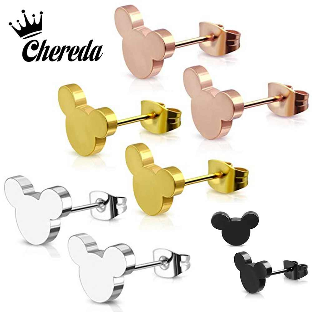 Chereda Mickey Stud Earring for Women Sweet 4 Color Earrings Small Tiny Cute Mickey Jewelry Girl Birthday Best Gift my order