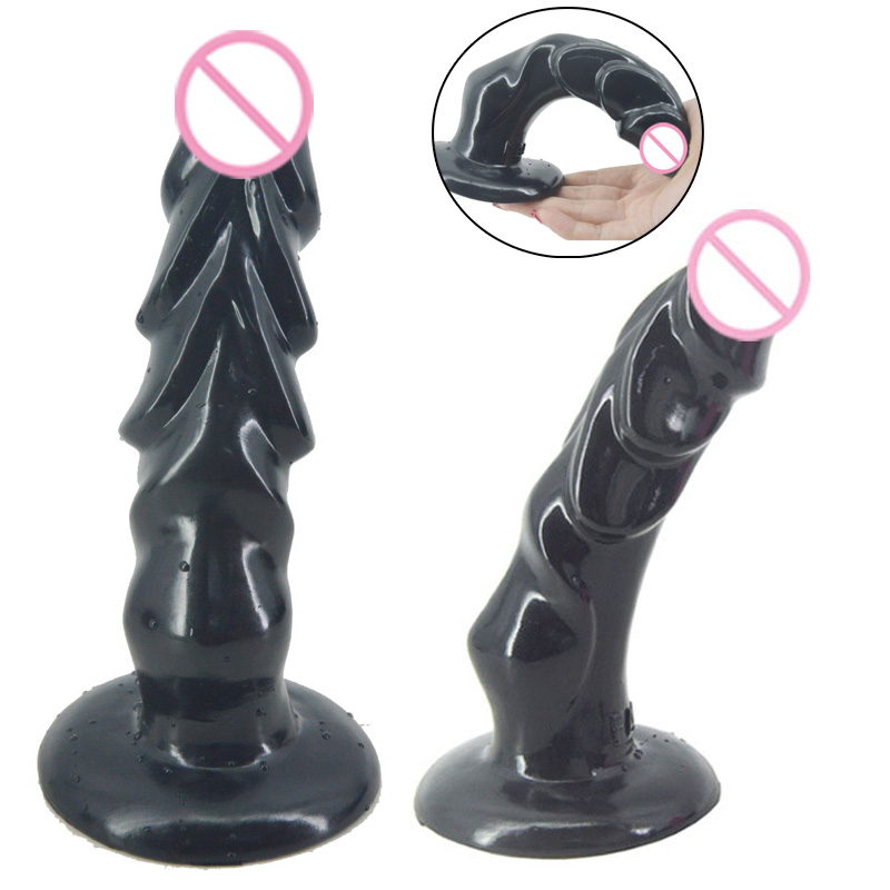20cm 4 5cm black Large soft Dildo Realistic Dildo Anal Plug Waterproof Flexible Penis Strong Suction