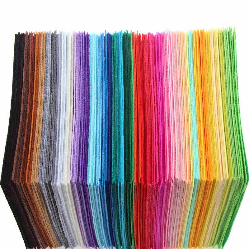 40pcs/set DIY Colorful Fabric Cloth 1mm Thickness Polyester Cloth Felts Of Home Sewing Wedding Decoration Craft Cloths 15x15cm