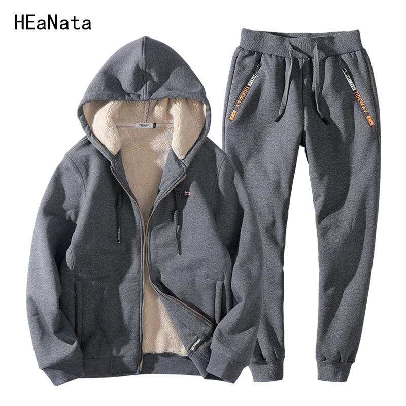 Winter Tracksuit Men Set Two Pieces Clothing Set Casual Track Suit Sweatsuit Thick Fleece Fur Cotton Hoodies Sweatshirt Men 8XL
