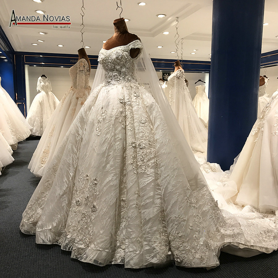 Wedding Bridal Gowns: 2018 Luxury Wedding Dress Long Train Arabic Shinny Wedding