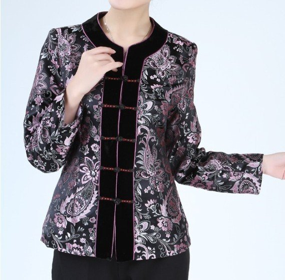 Style NEW Spring Chinese Women Silk Satin Jacket Coat Flowers M L XL Free Shipping 2320-2