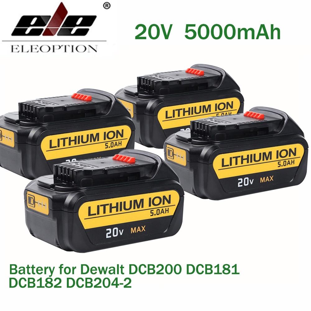 ELE ELEOPTION 4PCS 20V 5000mAh Li-ion For Dewalt Replacement Battery for DCB200 DCB181 DCB182 DCB201 DCB204-2 DCD740 melasta 20v 4000mah lithiun ion battery charger for dewalt dcb200 dcb204 2 dcb180 dcb181 dcb182 dcb203 dcb201 dcb201 2 dcd740