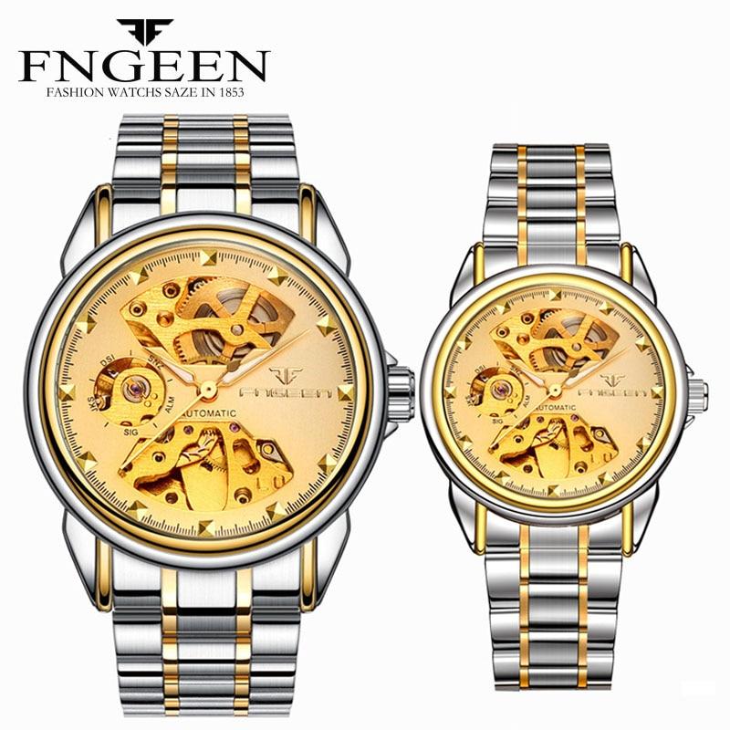 Couple Watch 2020 Luxury Brand Automatic Mechanical Watch Stainless Steel Waterproof Skeleton Men's Watch Tourbillon Men Watches
