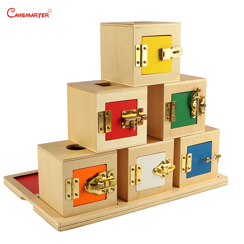6 Lock Box Exercises Toys Game Home Daily Life Training Wooden Toys Metal Locks School Montessori Educational Materials PR103-36 Lock Box Exercises Toys Game Home Daily Life Training Wooden Toys Metal Locks School Montessori Educational Materials PR103-3