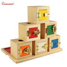 Развивающие материалы Монтессори деревянная коробка с 6 замками