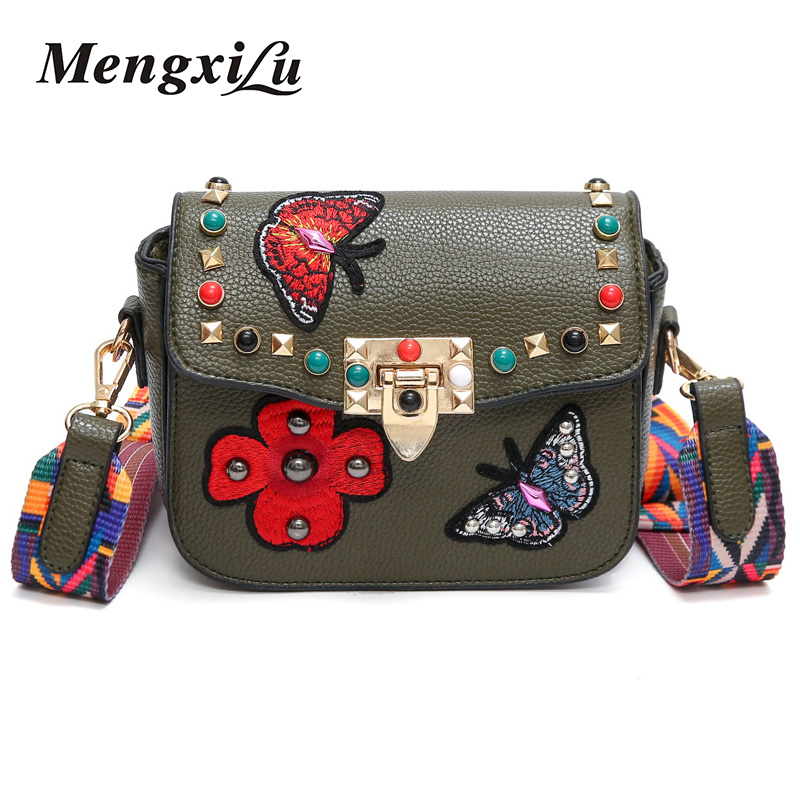 2018 Butterfly Animal Pattern Fashion Mini Women Bags Rivets Embroidery Floral Bag Designer PU Leather Crossbody Bags Sac A Main