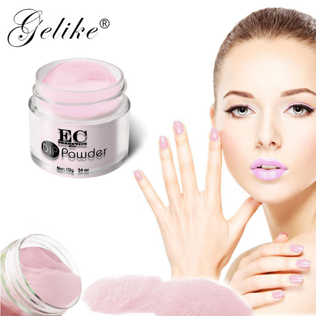 Gelike 10 g/caja polvo de purpurina de uñas francesas sin lámpara cura uñas polvo de inmersión de Gel rosa claro polvo de uñas Natural seco