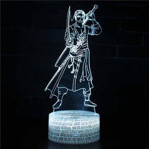 Image 3 - One Piece 7 Colors Changing Table Action Figures Lamp Luffy USB Led Desk Light Zoro Mihawk SUNNY Ship model toys Christmas Gift