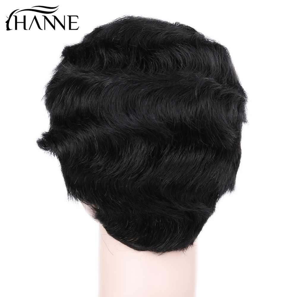 HANNE волосы бразильские волосы remy короткие волнистые Fringer волнистые парики для черных женщин 100% человеческие волосы парики мама волосы парики 1b #/30 #/27 #/4 #